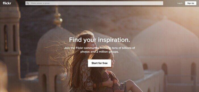 Captura de pantalla de la página de inicio de Flickr