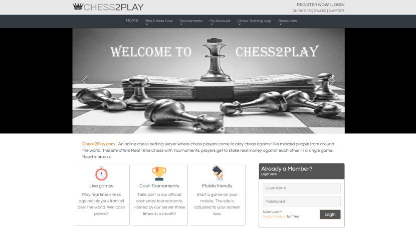 página de inicio de chess2play.com