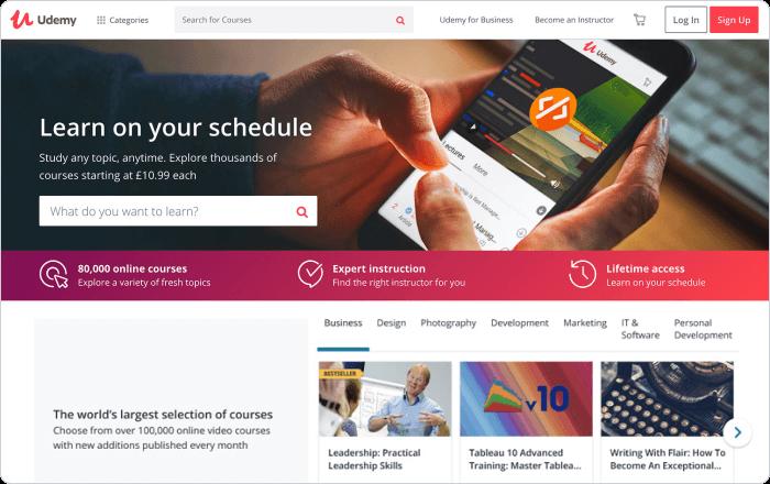 Plataforma de venta de cursos de Udemy