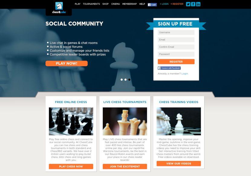 página de inicio de chesscube.com