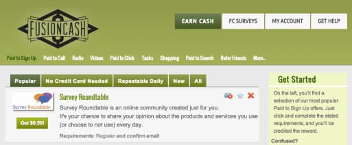 fusioncash screenshot as an option to earn money by playing games to paypal