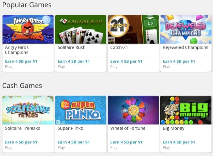 screenshot of swagbucks games that pay instantly to paypal